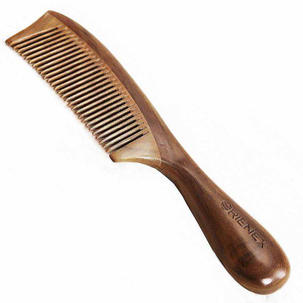 Orienex 高級木製櫛 ヘアブラシ ヘアコーム 静電気防止 頭皮マッサージ 天然緑檀 (並歯)